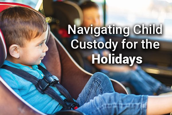 Children are in the backseat with the words, navigating child custody for the holidays.