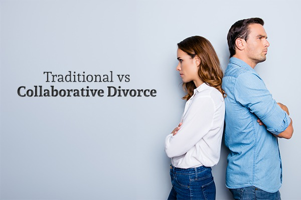 "A man and a woman - both looking angry - stand back-to-back beside the words ""Traditional vs Collaborative Divorce"""